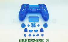Clear Blue Full Custom Replacement Shell Mod Kit For PS4 Playstation Controller