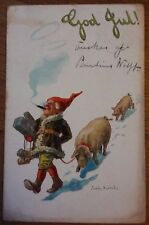 Greetings Elf / Pig Postcard , Early Postcard Posted 1905 Jenny Nystrom