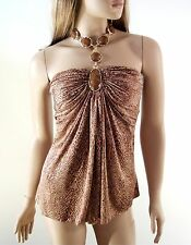 Sky Silk Snake Print Top with Gold Chain Necklace Small