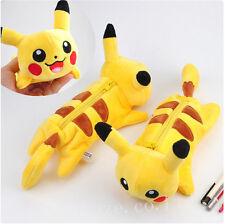 Pokemon Pikachu Yellow Plush Storage Pencil Case Pen Bag