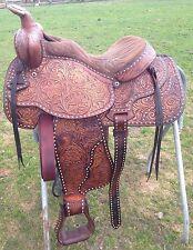 """15.5"""" Used/vintage TexTan Western saddle tooled/buckstitched leather US made VGC"""