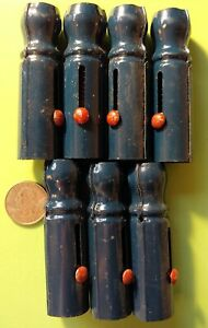 """7 Vintage NOS Blue Metal Spring Loaded Marble Shooters 3"""" Shooter Red Button"""