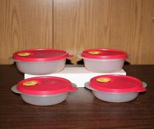 4 Tupperware Crystal Wave Bowls With Vented Covers