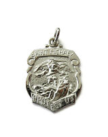 Sterling Silver 0.925 Saint St Michael Archangel Medal Necklace Pendant Charm