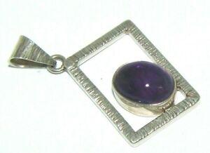 Ladies womens sterling silver & purple stone pendant