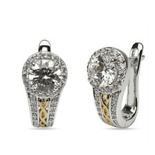 925 SOLID STERLING SILVER & GOLD PLATED ROUND CUT WHITE CZ HALO EARRINGS