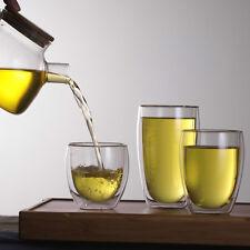 Double Layer Wall Clear Glass Tea Cup + Bamboo Lid Set Glass Coffee MiAU Mug MG