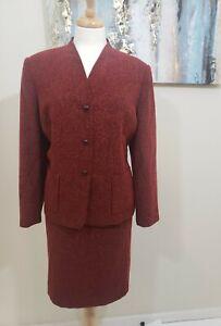 KASPER ASL PETITE Women 2PC Elegant Tweed Vintage Red Black Skirt Suit Size 16p