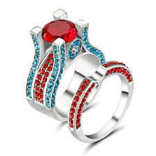 Fashion Multi-Color Ruby 10kt White Gold Filled Wedding Bridal Ring Gift Size 9