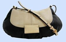 MARC JACOBS GATHER ROUND Black/Beige Leather X-Body Bag Msrp $328