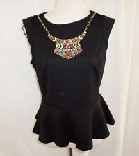 Hot Options Ladies Peplum Top & Necklace Black or Cyan Blue Size 8-18