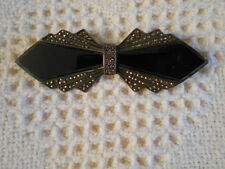 DECO REVIVAL STERLING, ONYX & MARCASITE BOW PIN FROM 1980's