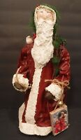 Festive Santa Claus Best Christmas Wishes Figurine Vintage Statue Tabletop Decor
