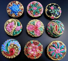 "Collection of 9 Czech ANTIQUE (1920's) Glass Buttons #B304 - 22 mm or 7/8"" -RARE"