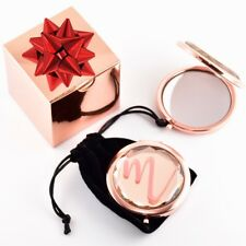 Free Shipping Personalized Rose Gold Jewel Mirror Compact & Velvet Pouch