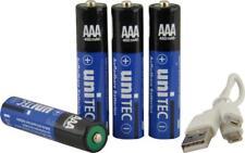 Unitec 3€/Stk. Aufladbare Batterien AAA Micro-USB 4 Stück mit Ladekabel