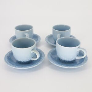 HTF RARE Christian Dior French Country Rose Ceramic BlueBerry 4 Cups & 4 Saucers