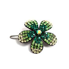 Hand Made Hair Jewelry Ombre swarovski crystal Flower Barrette, Green Rhinestone