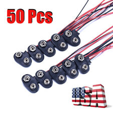 50Pcs Battery Buckle Clip Connector 9V (9 Volt) Hard Shell I-Type US