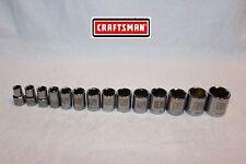 """NEW Craftsman Tools 14 pc 1/2"""" Drive SAE Socket Set 6 pt STD (inch) LASER ETCHED"""