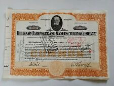 1939 Belknap Hardware & Manufacturing Company Cancelled Common Stock Certificate