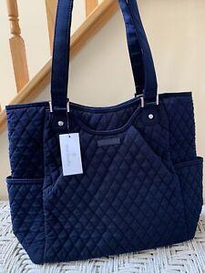 Vera Bradley Large Glenna Tote Shoulder Bag Purse Navy Solid Microfiber NWT