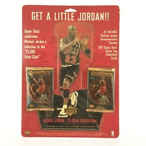 Michael Jordan 25,000 Point Commerative Set Upper Deck Standee Black Jersey 1997
