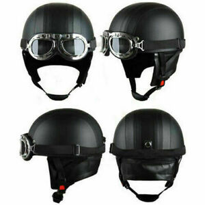 Retro Motorcycle Biker Scooter Half Vintage Leather Helmet With Goggles