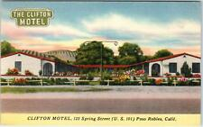 PASO ROBLES, CA California   CLIFTON MOTEL   c1940s  Roadside  Linen  Postcard*