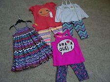Size 6 - 6X Lot Of Girls 3 Tops, 3 Leggings & Dress For Summer, New