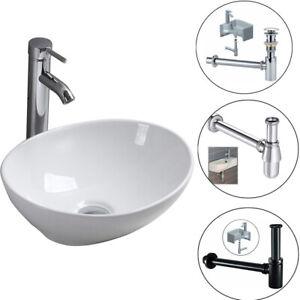 Modern Bathroom Countertop Oval Top Ceramic Basin Small Toilet Sink + Waste Plug