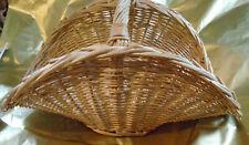 Vintage Pale Wicker Basket Flower Gathering Ex Cond