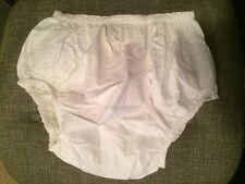 Large Adult White PVC Plastic Pants with cotton lining (reversible)