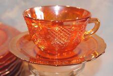 ANTG FEDERAL NORMANDIE CARNIVAL MARIGOLD GLASS ORANGE TEA CUP SAUCER SET FLORAL