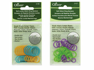 Clover Soft Stitch Ring Markers - 2 Sizes - Small/Medium or Jumbo Thread Wool