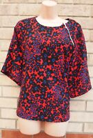 DEFINITIONS RED PURPLE BLACK FLORAL DAISY SUMMER BLOUSE T SHIRT TUNIC TOP 20