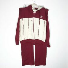 New listing Vintage Adidas Track Suit Mens Large Dark Red Off White Jacket Pants Flaws