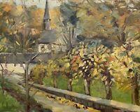 Peinture à L'Huile Paysage D'Automne avec Église de Village et Arbres Inconnu