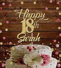 HAPPY BIRTHDAY NAME GLITTER CAKE TOPPER 18 TH 21 ST BIRTHDAY PARTY DECORATION