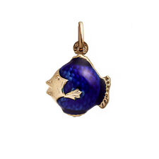 18K YELLOW GOLD FISH WITH BLUE ENAMEL PENDANT 2.4 GRAMS 1""