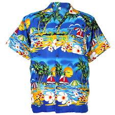 Hawaiian Aloha Shirt Coconut Printed Beach Party ISLE Hawai Blue 2XL hg212c
