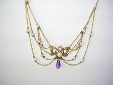 "Antique Art Nouveau 14k Yellow Gold Festoon Necklace 16"" Amethyst / Pearls"