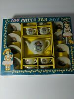 VINTAGE  PORCELAIN TOY CHINA TEA SET  17 PIECES IN ORIGINAL BOX
