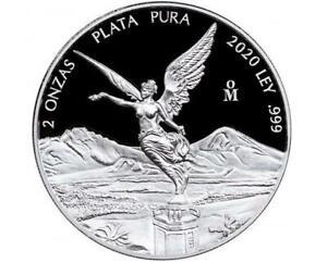 2020 2 oz Silver Mexican Libertad PROOF 2 Troy Oz Coin .999 Fine Silver #A362