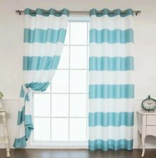 Green And White Striped Curtains 2 Panels