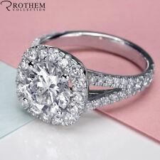 2.50 Carat F SI2 Cushion Halo Round Diamond Engagement Ring White Gold 48321