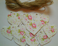 25  Pink Rose Heart Gift Tags Labels Vintage Style, Gifts,Bottles & Boxes