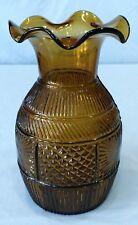 Vintage Clevenger 3 Mold Blown Vase GIII-5 Diamond Sunburst Amber Yellow Green