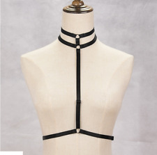 Single strap Harness with double strap adjustable collar gothic black