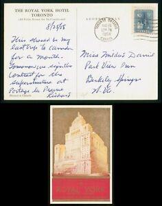 Mayfairstamps Canada PC 1958 Royal york Hotel to Berkeley Springs WV Postcard ww